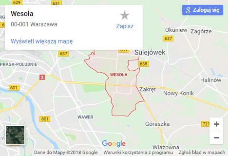 Mapa Google hydraulik Warszawa Wesoła